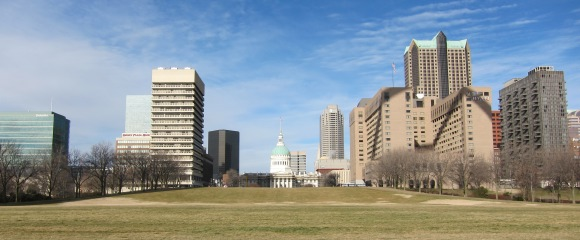 Downtown St. Louis From Under the Arch