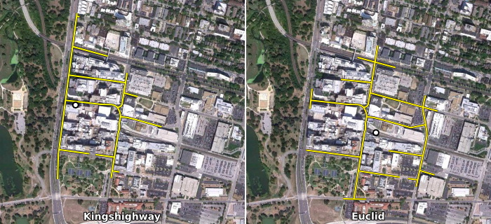 Comparison of Kingshighway and Euclid 1/4 walk sheds