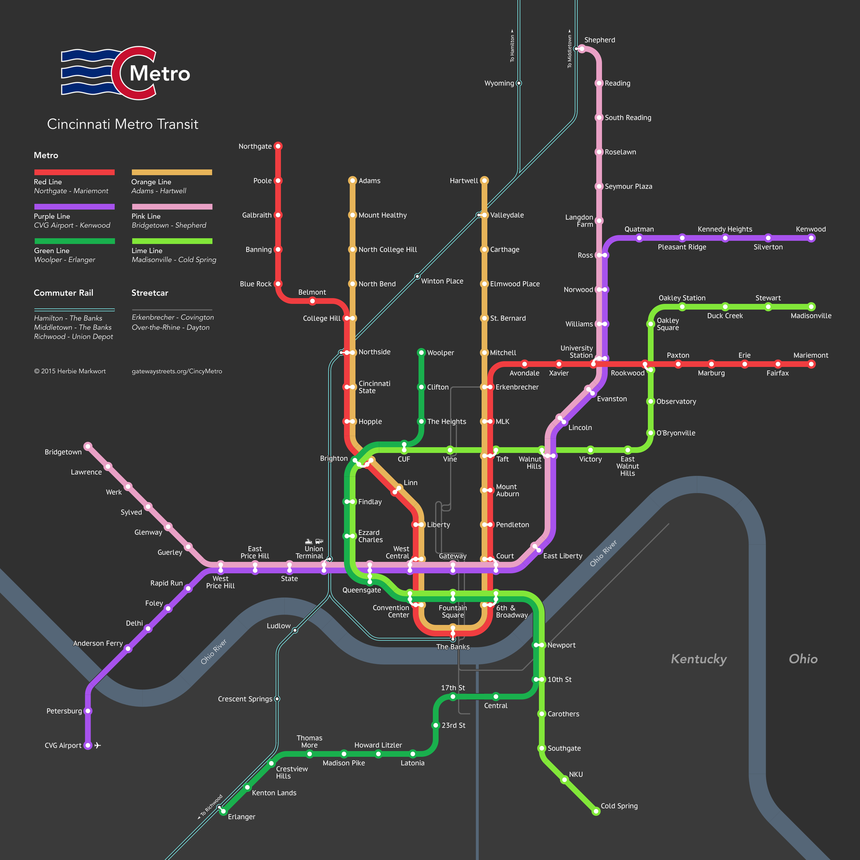 Cincinnati Subway Map.Cincinnati Metro Transit Imagined Gateway Streets