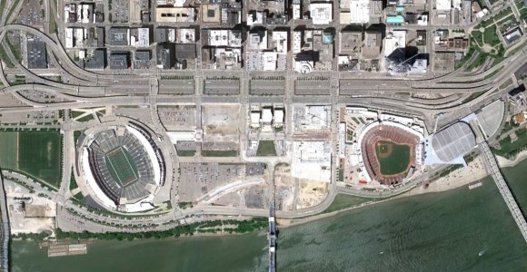 Cincinnati Riverfront satellite view
