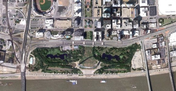 St. Louis Riverfront satellite view